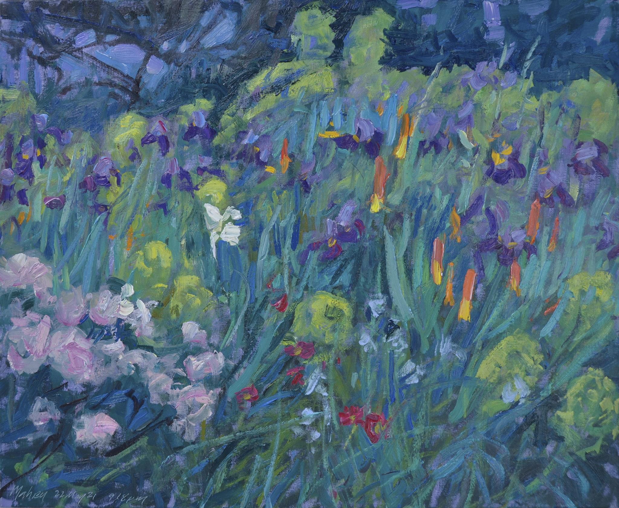 Twilight Garden—Iris and Torch LIlies