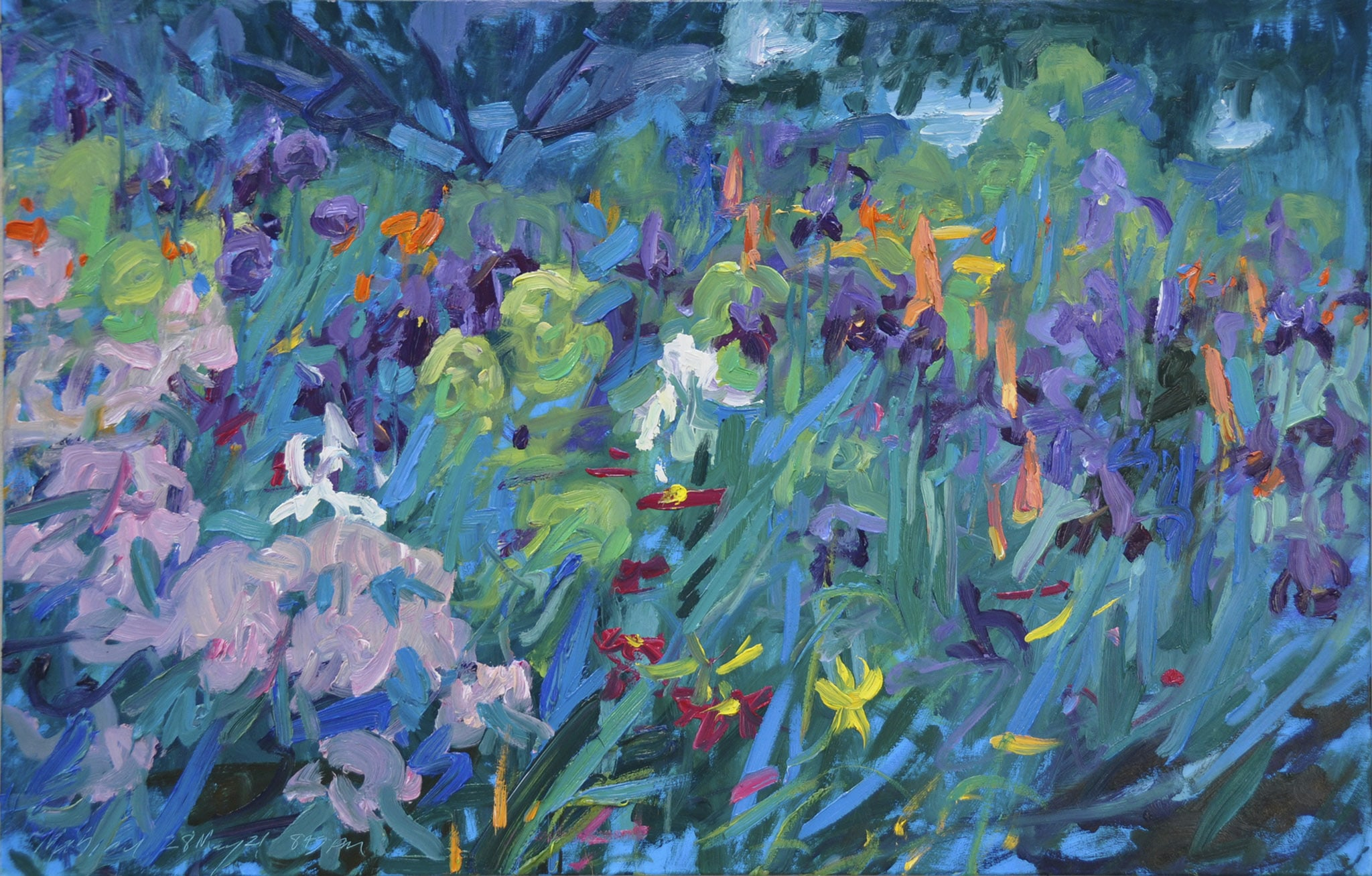 Torch Lilies and Iris—Dusk
