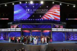 PHILADELPHIA, PA - JULY 26: on the second day of the Democratic National Convention at the Wells Fargo Center, July 26, 2016 in Philadelphia, Pennsylvania. Democratic presidential candidate Hillary Clinton received the number of votes needed to secure the party's nomination. An estimated 50,000 people are expected in Philadelphia, including hundreds of protesters and members of the media. The four-day Democratic National Convention kicked off July 25. (Photo by Alex Wong/Getty Images)