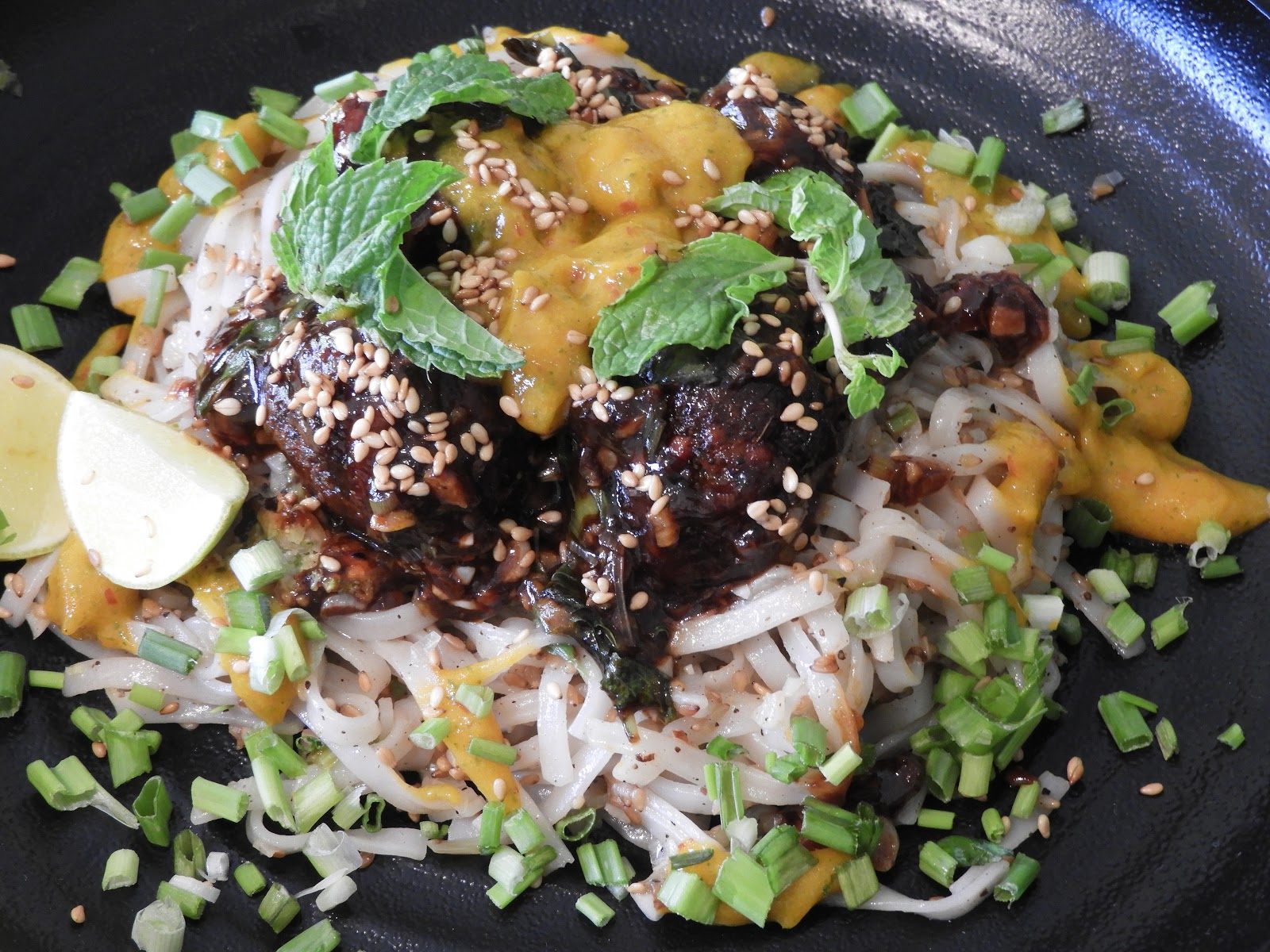 Sticky Broccoli Balls with Sesame Rice Noodles & Mango Sauce - Thai recipe at Kitchen by Nidhi