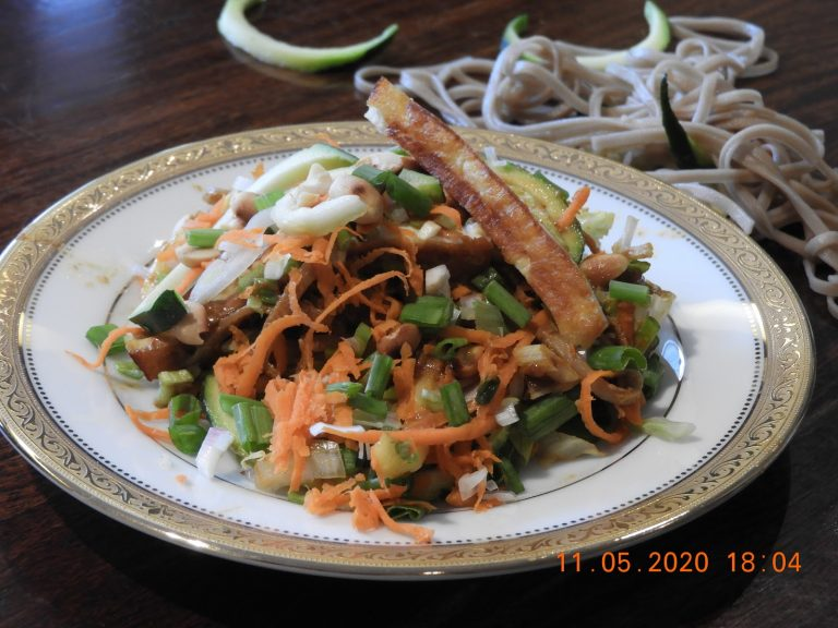 Soba Noodles Salad with Grilled Cottage Cheese and Peanut Sauce - Asia & Japanese Cuisine at Kitchen by Nidhi