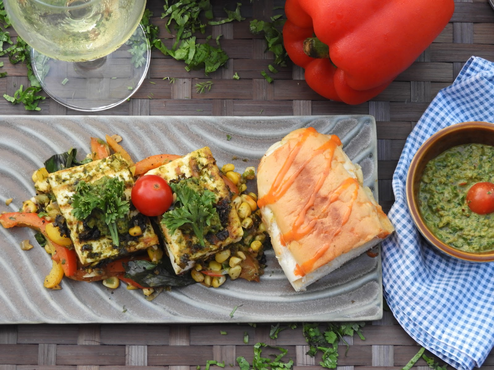 Grilled Cottage Cheese & Vegetables with Chimichurri Sauce - American cuisine at Kitchen by Nidhi