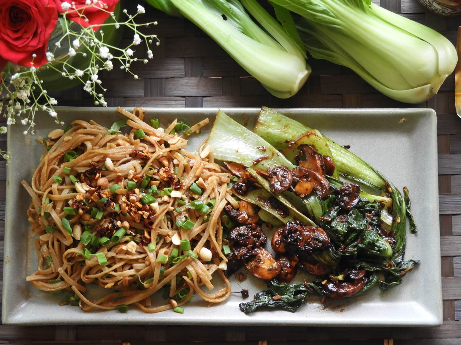 Spicy Bok Choy Mushrooms with Garlic Soba Noodles - Thai recipe at Kitchen by Nidhi
