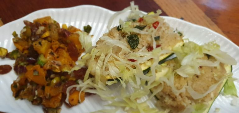 Zucchini with Pumpkin and Couscous - Moroccan Cuisine at Kitchen by Nidhi