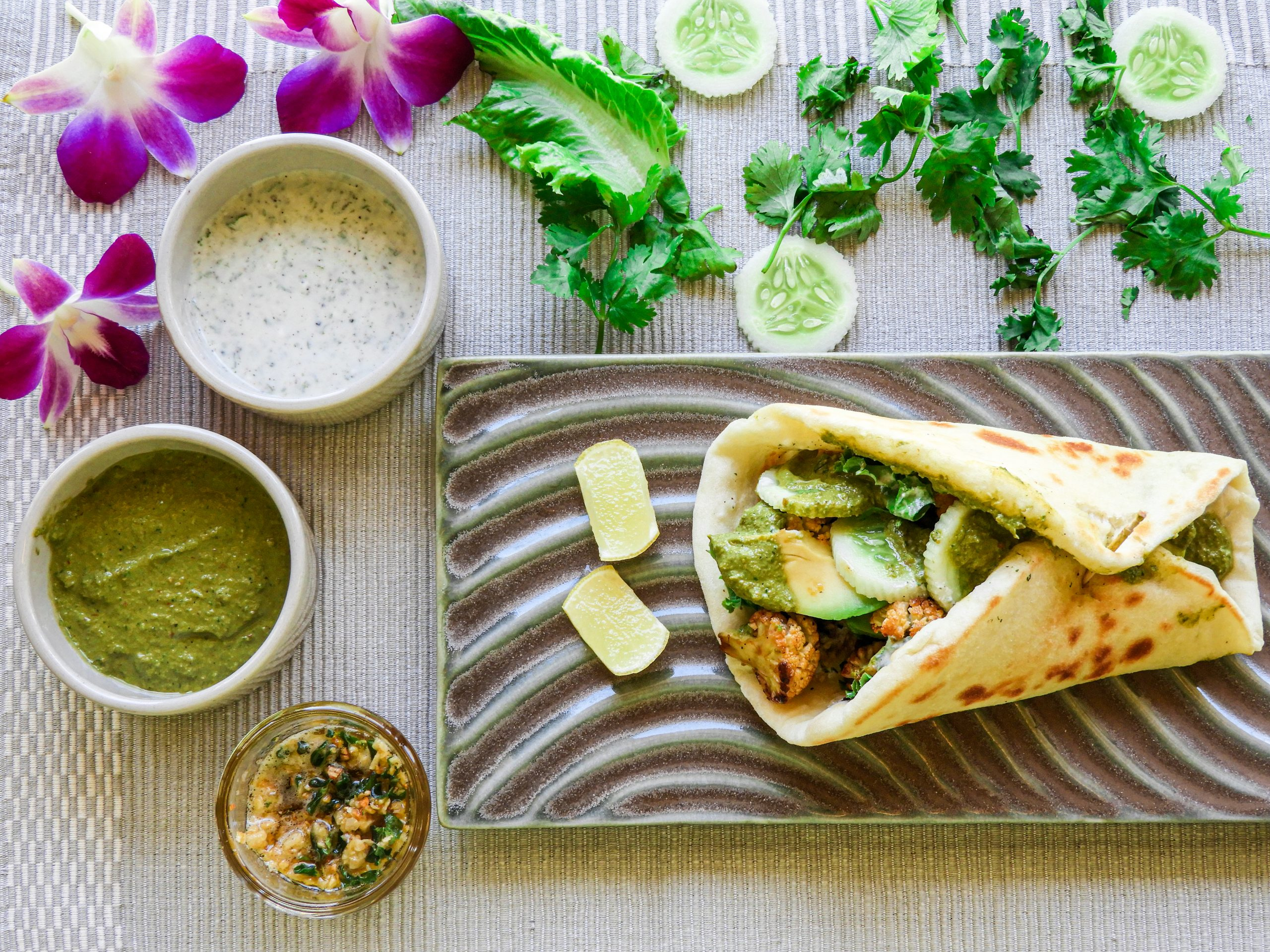 Spicy Baked Cauliflower Naan Wraps - Asian cuisine at Kitchen by Nidhi