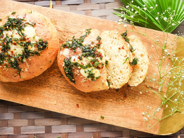 Rosemary Garlic Almond Milk Bread with Chilly Basil Butter