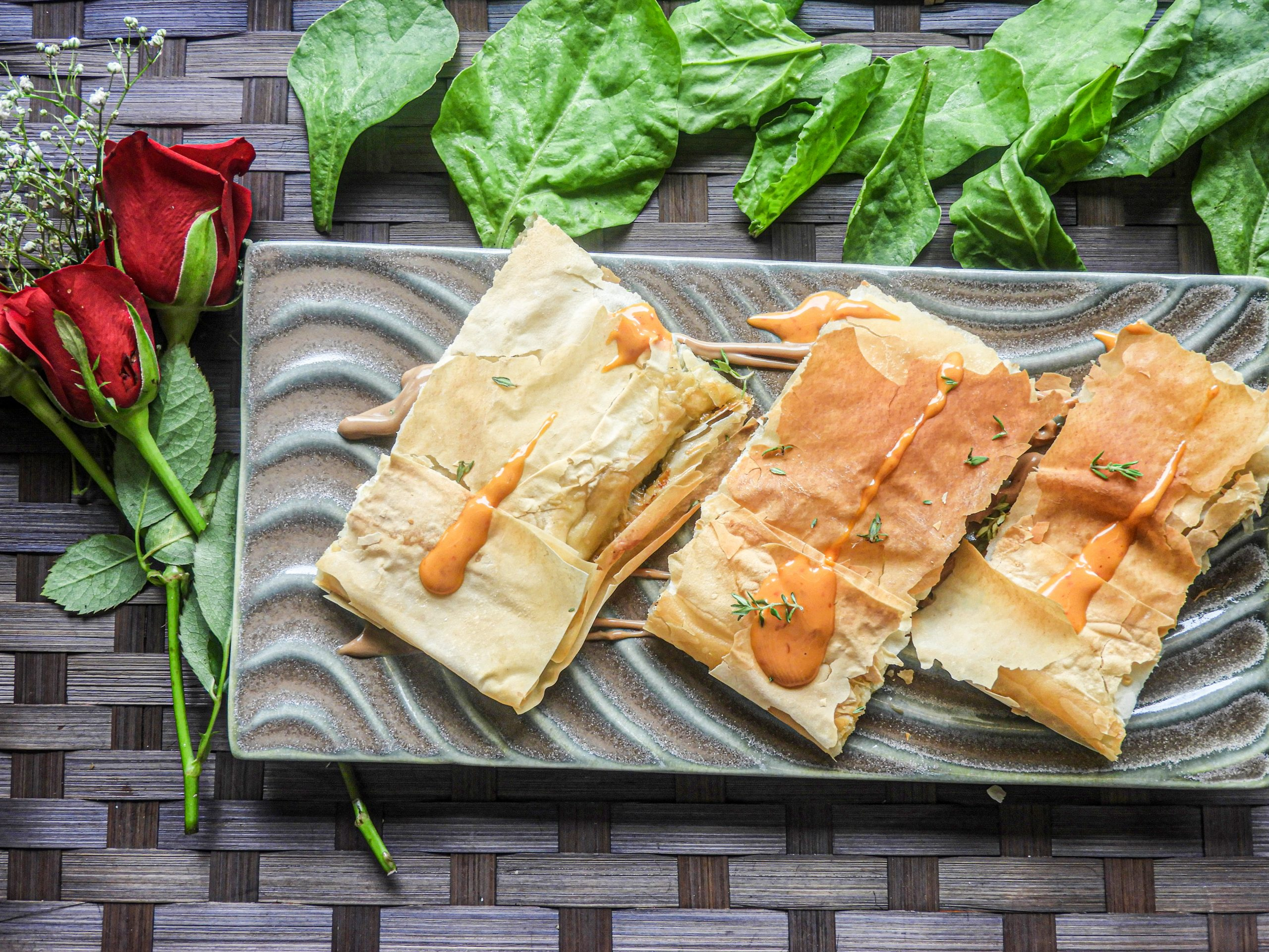 Caramelized Onion Spinach Fillo Pastries - Italian Cuisine at Kitchen by Nidhi
