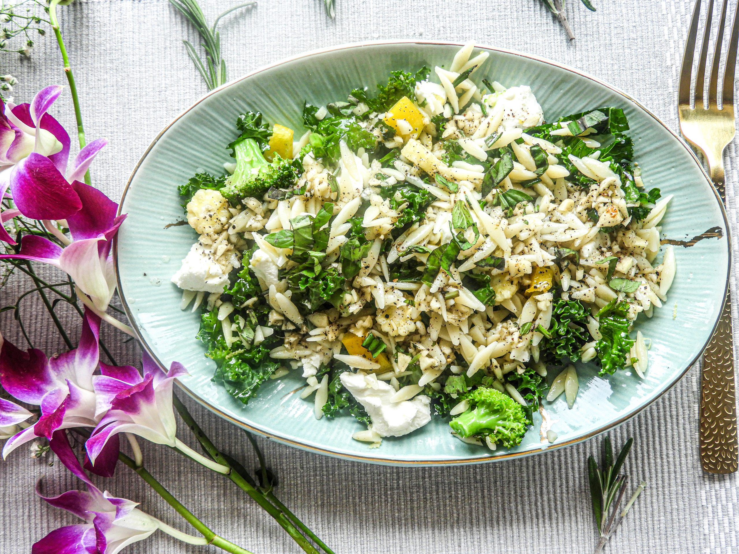 Orzo Pasta Salad with Goat Cheese - Italian Cuisine at Kitchen by Nidhi