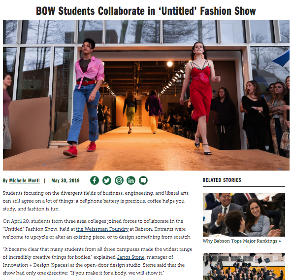 Screenshot of web story about Babson College fashion show