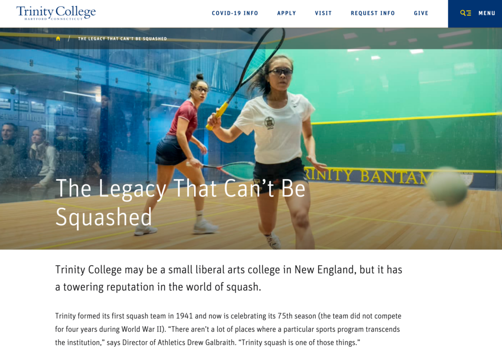 Photo of Squash players with article text below