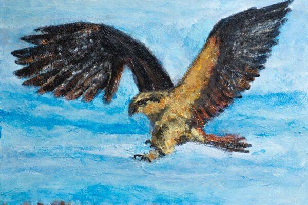 24x24 Acrylic on Canvas Walnut Box Frame