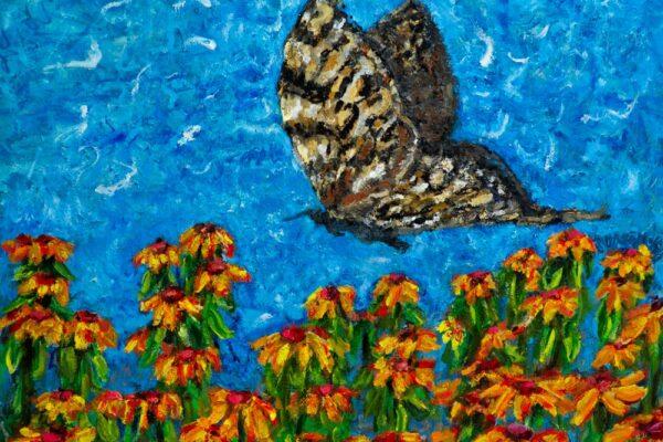 30x24 Oil and Acrylic on Canvas Walnut Box Frame