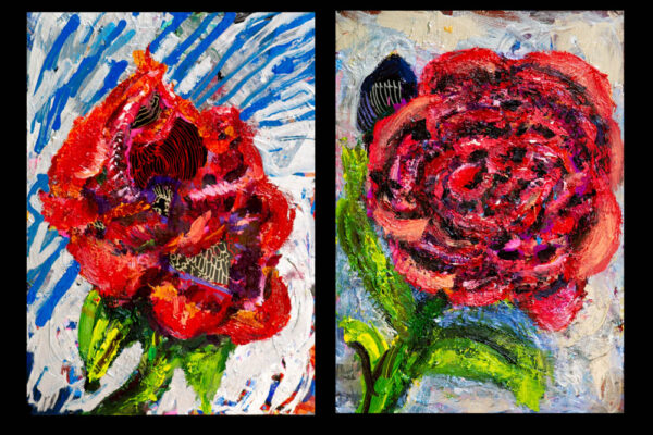5x7 each Oil and Acrylic on Metal Black Illusions Frame