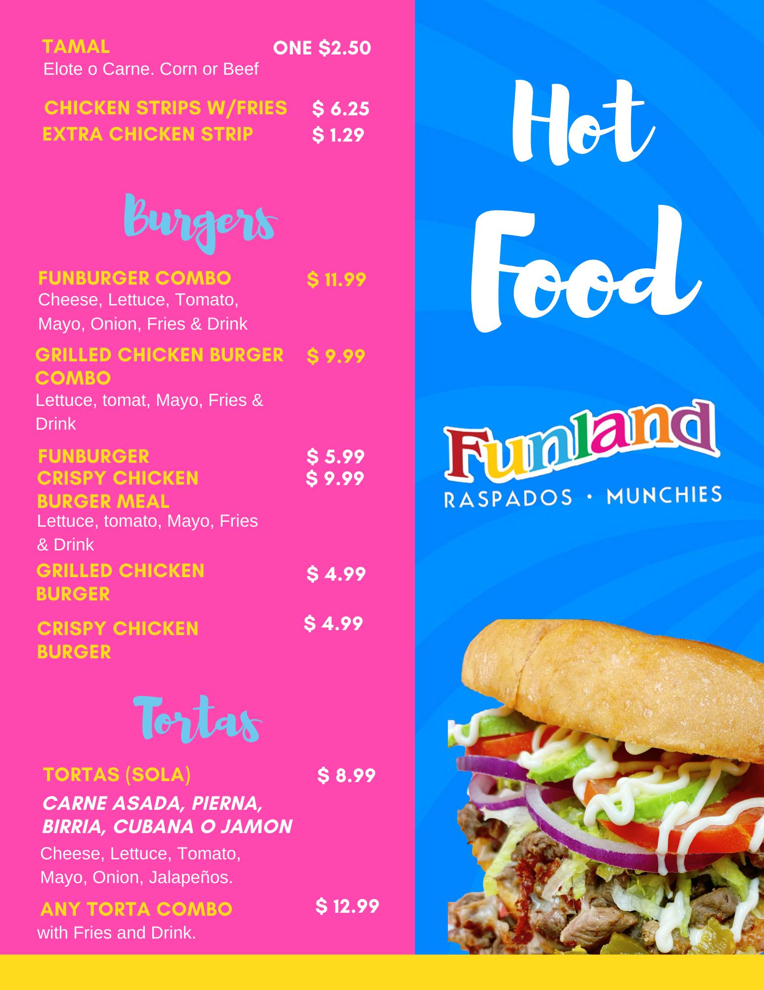 Funland - Munchies Menu