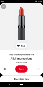 """Example of Pinterest's new """"Try-on"""" AR feature"""