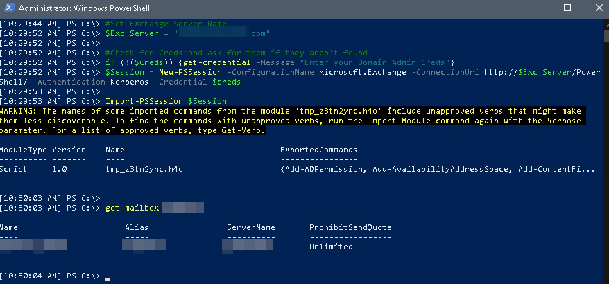 Example of Exchange Connection with Powershell