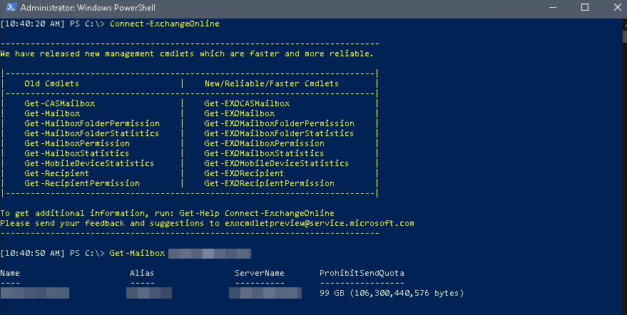 Example of Exchange Online Connection with Powershell