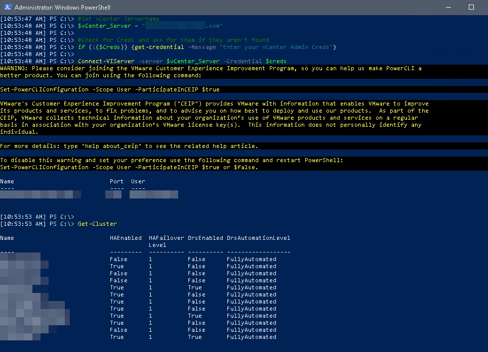 Example of vCenter Connection with Powershell