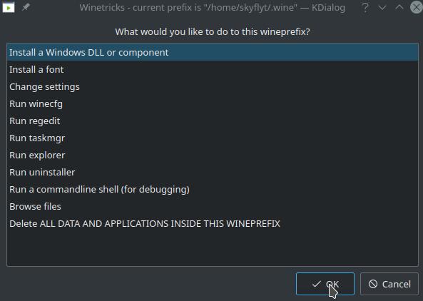 Winetricks default prefix menu