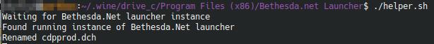 Helper script running in terminal
