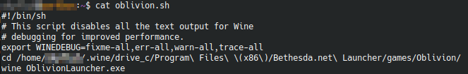 Oblivion launcher script example