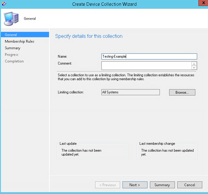 SCCM Create device collection example