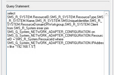 Create a SCCM Device Collection by IP or Subnet