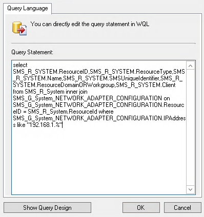 Create a SCCM device collection based on ip or subnet