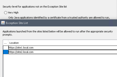 Add Sites to Java security exceptions list with Powershell