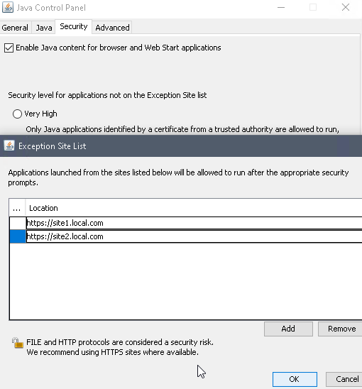 Java security exceptions list