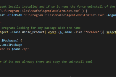 SCCM Script – Uninstall McAfee