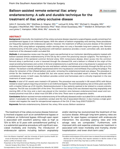 Balloon Assisted Remote External Illiac Artery Endarterectomy
