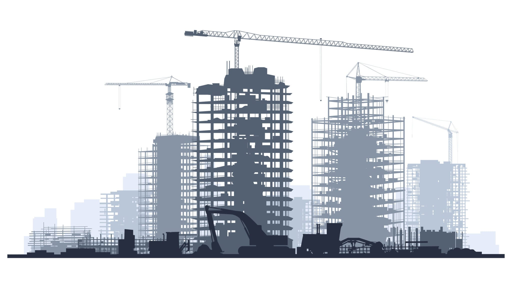 42812769 - line of silhouettes illustration of construction site with cranes and skyscraper with tractors, bulldozers, excavators and grader in blue tone.
