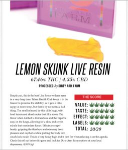 Lemon Skunk Live Resin Review- 20 out of 20!