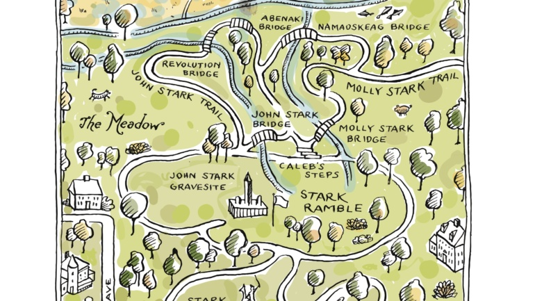 Map of A Walk in the Woods at Stark Park in Manchester, New Hampshire