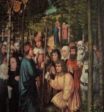Saint Rumold meeting Saint Gummarus