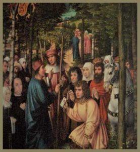 Art depicting St. Rumold meeting St. Gummarus
