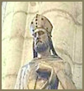 Wooden statue of Saint Nicetius in front of the Saint-Nizier Church, in Lyons