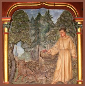 Painting of St Psalmodus and a wolf
