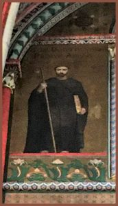 Painting of Saint Droctoveus on the wall of St Germain Church