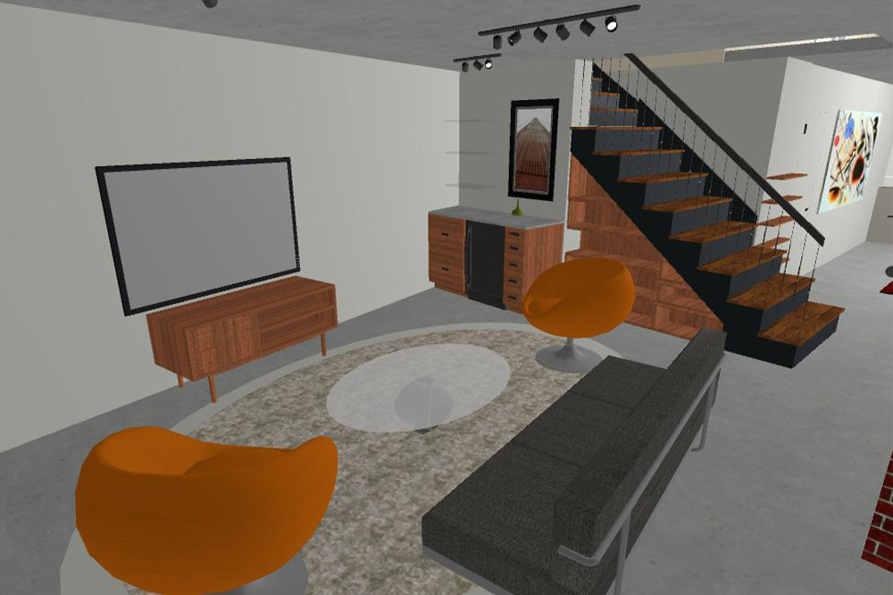 digital design of a living room for client's perspective