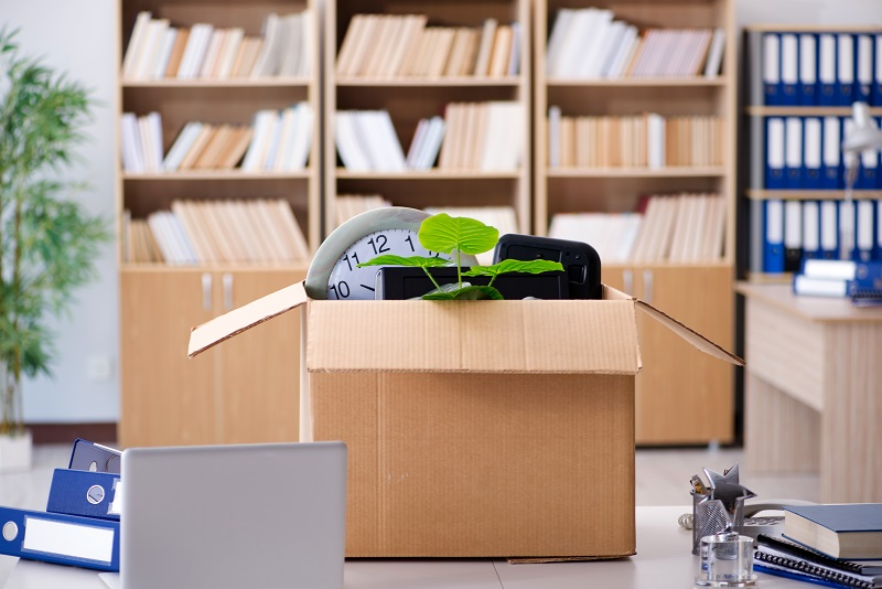 Box of dismissed employee on the table