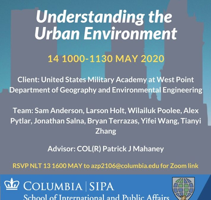 Columbia University School of International and Public Affairs Urban Resiliency Capstone Project