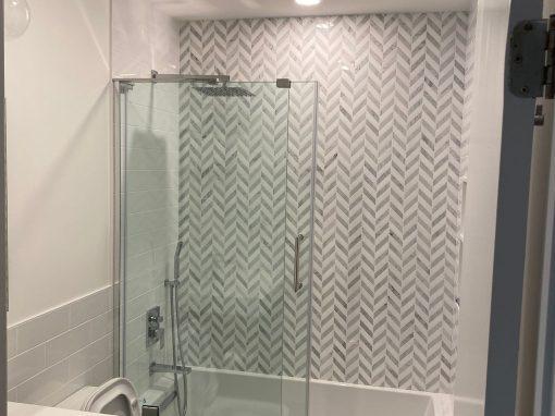 Downtown Brooklyn Bathroom Renovation Chevron Tile
