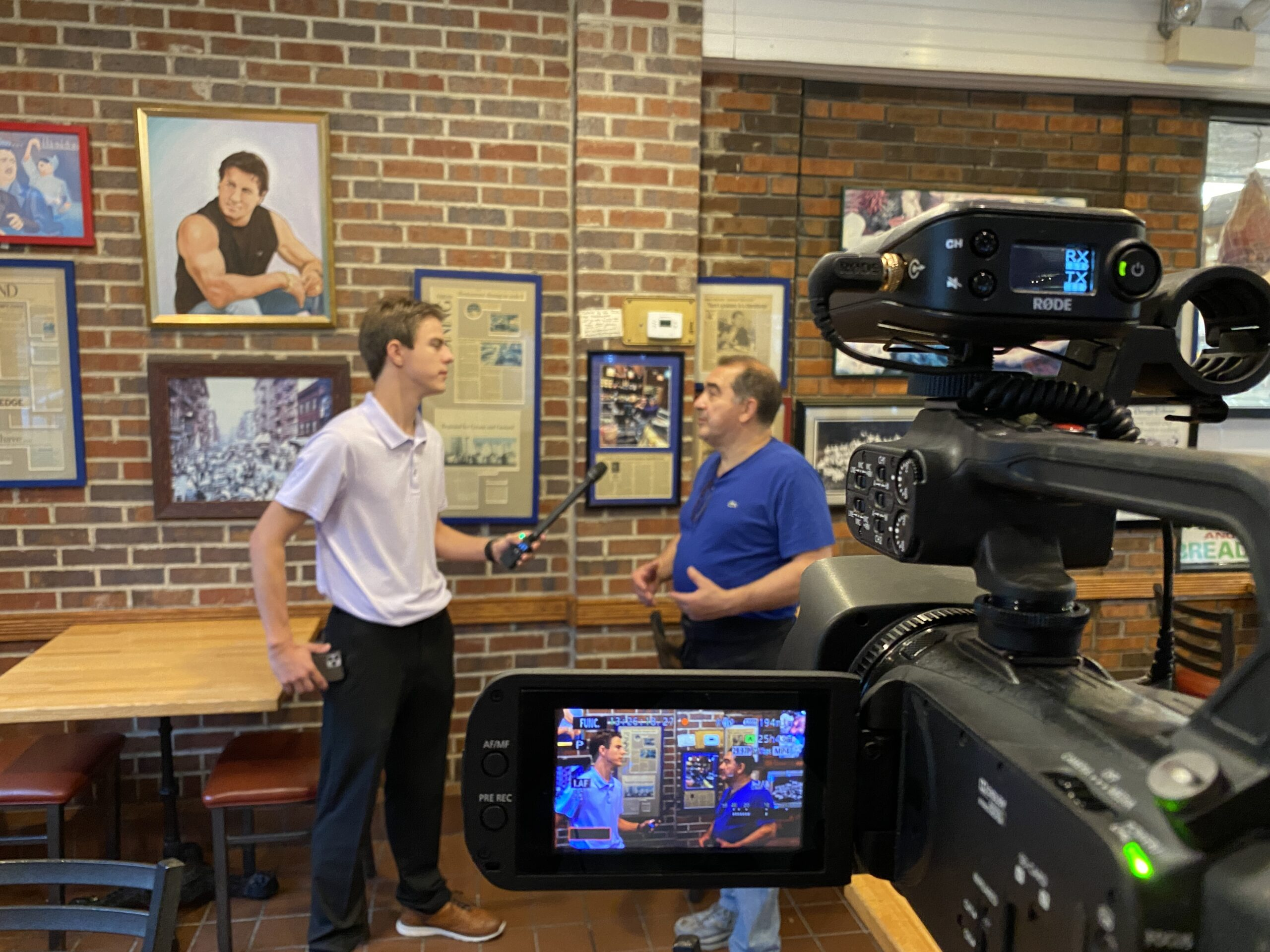 """Aaron Hanania interviews Freedy's Pizza owner Joe Quercia in Cicero on the """"It's Not So Late Show"""""""