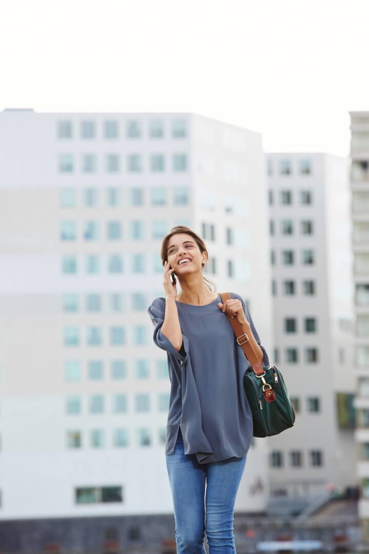 nurse advice line woman city mobile purse