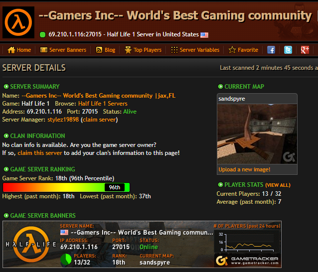 NEW RANKING FOR GAMERS INC HL SERVER! RANKED 18TH!