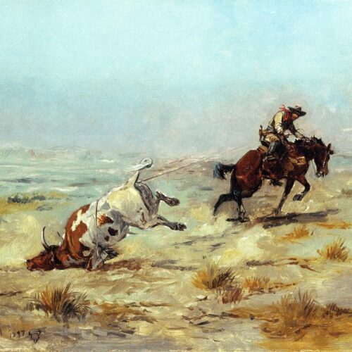 Lassoing_A_Steer_Charles_Marion_Russell_1897