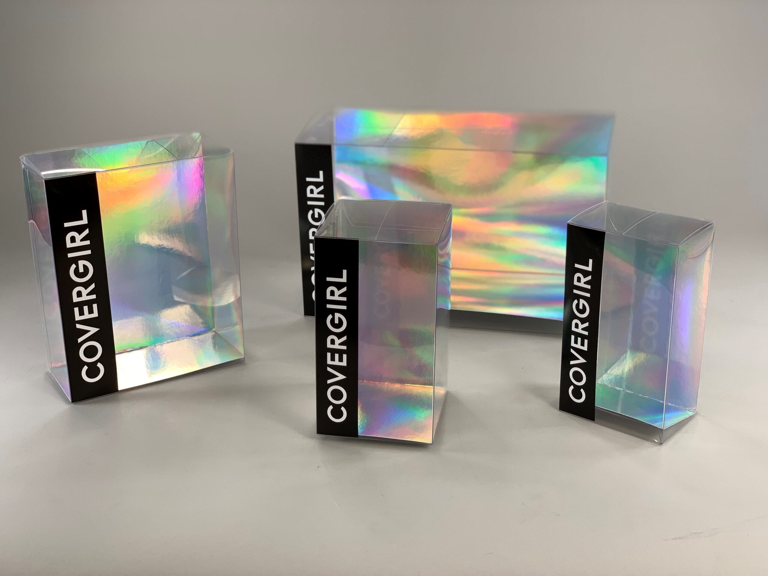 Let your product make the sale, with custom designed clear packaging like these branded clear folding boxes we made in all shapes and sizes for a client.