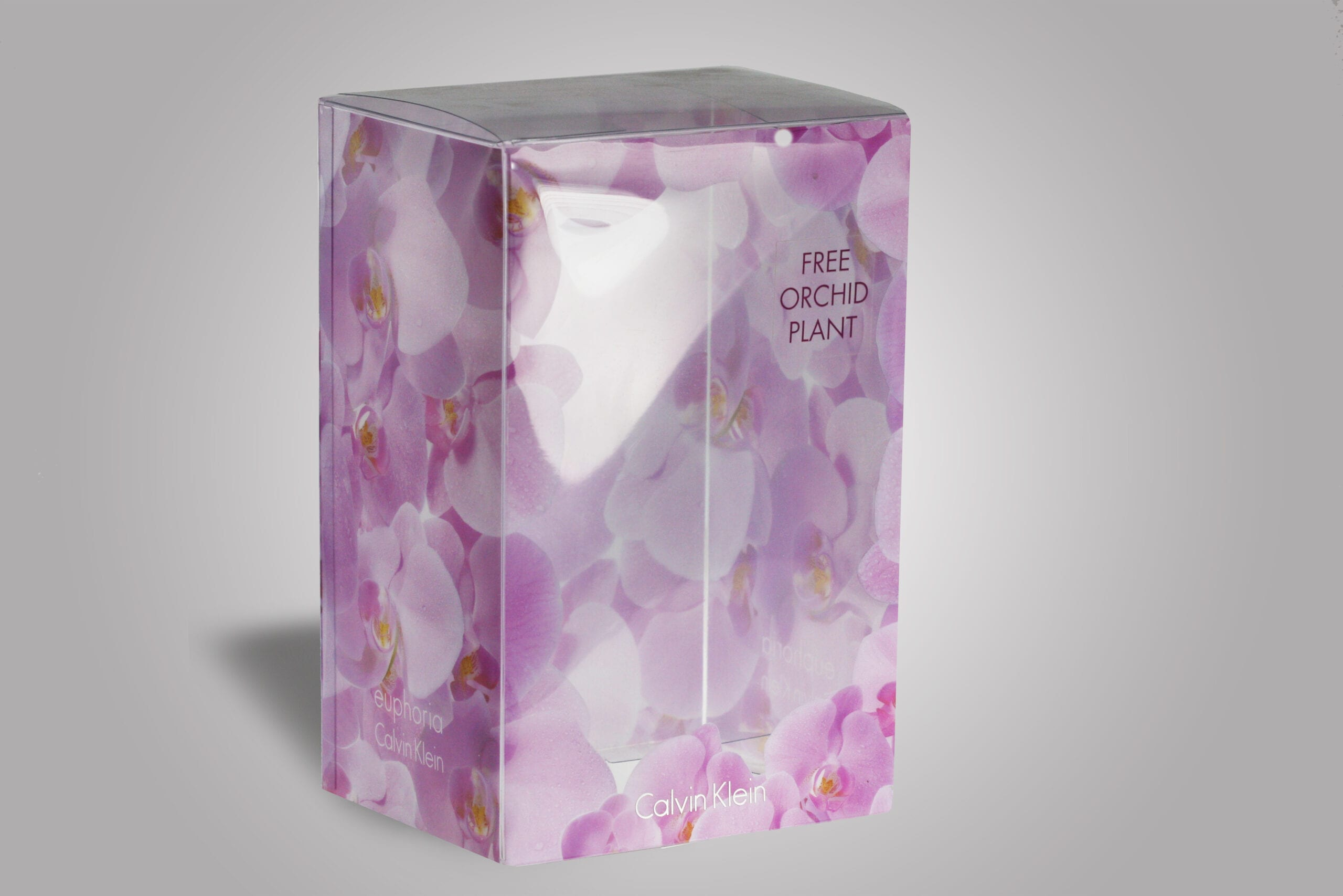 With PPD&G, everything is fully customizable and this custom designed clear box featuring an elegant orchid pattern clearly exemplifies how we can help you market your product through the right custom packaging.